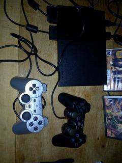 Play Station 2 Slim, Joysticks Y Memory + Juegos,muy Buena!!