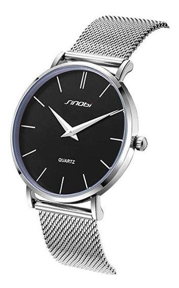 Relógio Quartzo Sinobi Slim Aço Inoxidável Unissex