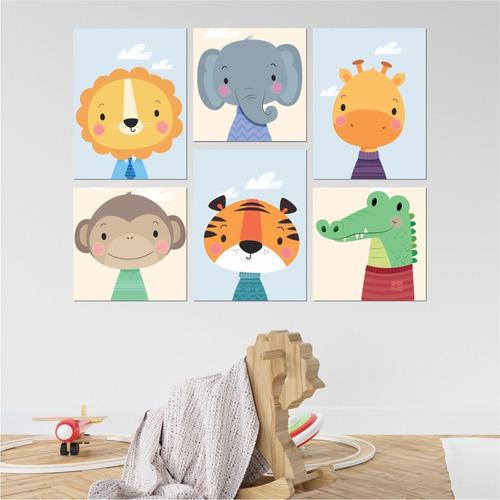 Kit 6 Quadros Decorativas Para Quarto Infantil Safari - Mdf