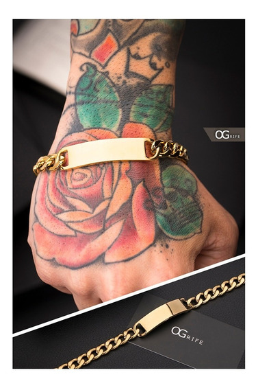 Pulseira Bracelete Aço Masculino Ogrife J-352 Banhado Ouro