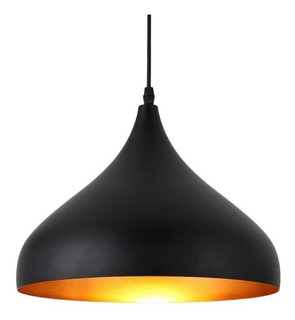 Lámpara Tipo Campana Color Negro Con Interior Dorado