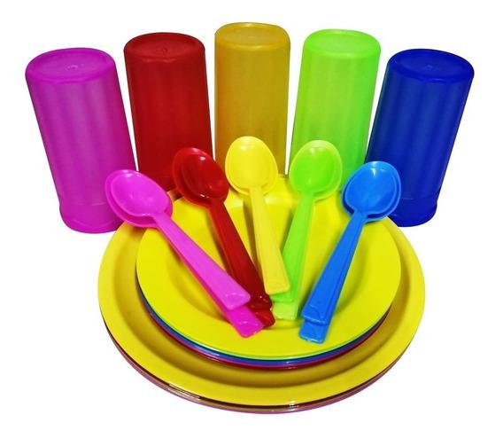 Set 15 Platos Taqueros Vasos Pasteleros Cuch Sopera Pastel