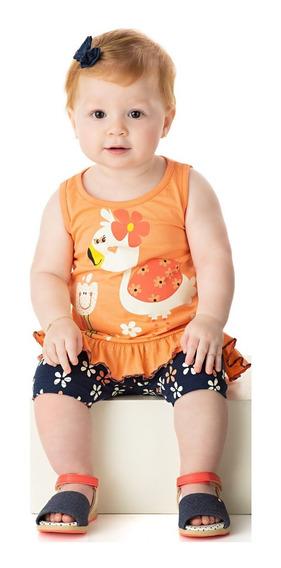 Roupa Bebê Menina Conjunto Blusa Regata Com Babado E Shorts