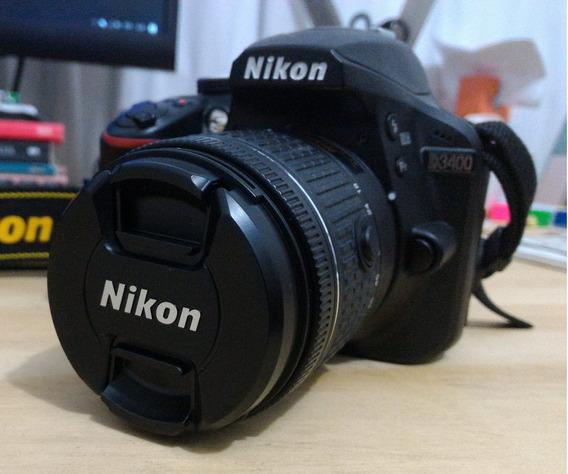 Câmera Nikon 3400 + Lente 18-55 Mm + Tripé + Bolsa
