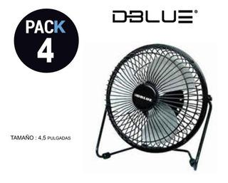 Pack 4 Ventilador Usb Escritorio Negro / Electronika