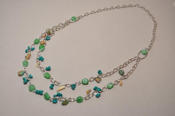 Collar Cadena Doble De Metal Plateado Y Piedras Naturales