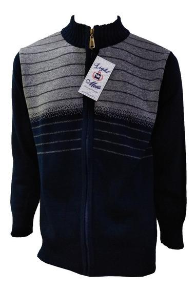 Suéter Azul Marino Cierre Completo Y Lineas Finas
