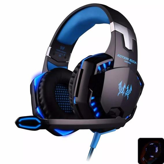 Fone Headset Gamer Led Microfone Kotion Each G2000 Azul