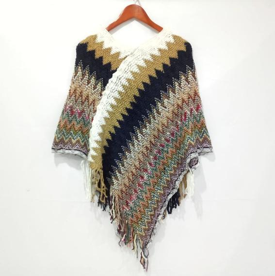 Poncho Con Bloques Multicolor Para Mujer