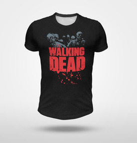 Remera Walking Dead Con Zombies, Negro Melange Full Print