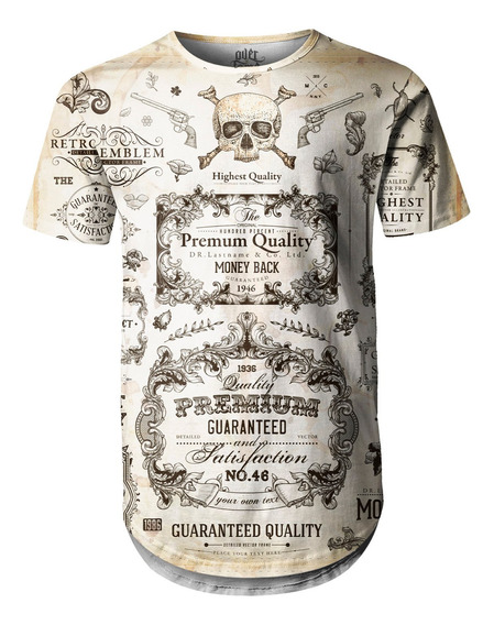 Camiseta Masculina Longline Swag Caligrafia Old School