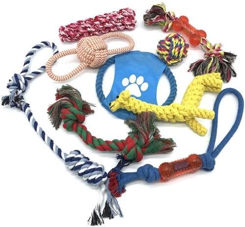 10 Pcs Clean Teeth Dog Pet Chew Rope Toys Set Washable Durab