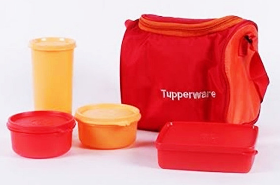 Tupperware Kit Bolsa Térmica Importada Vermelha 5 Pçs