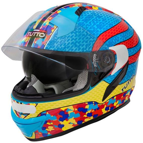 Capacete Tutto Racing Multicolor (c/ Viseira Solar) Azul Rs1