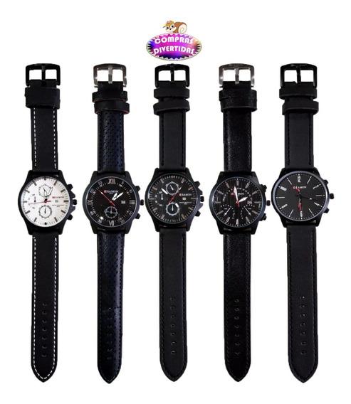 Reloj Negro Hombre Sport Elegante Tipo Piel Contra Agua