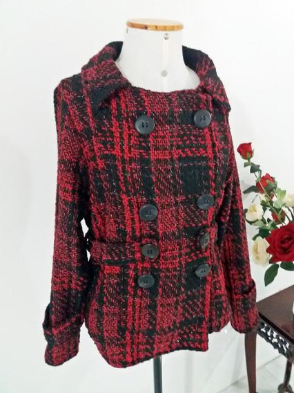 Jaqueta Casaco Lã Xadrez Vermelho Plus Size Tam Gg 42 44 46