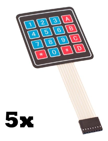 Kit 5x Teclado Membrana Matricial 4x4 16 Teclas - Arduino