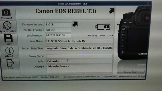 Câmera Canon Eos T3i + Lente18.55mm Kit Com 48303 Cliks