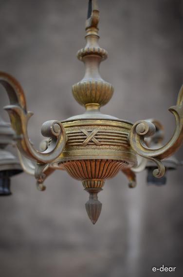 Araña Antigua Bronce Estilo Francés. Iluminacion Colgante