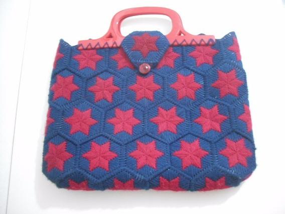Bolsa Antiga Fio Lã Azul Vermelho Forrada 40 X 31 Cm