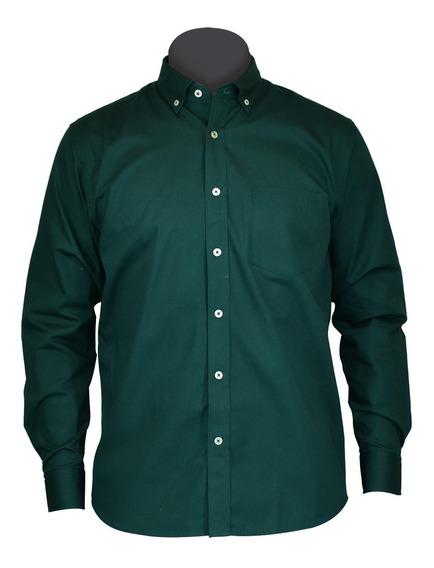 Camisas De Vestir, Casual Manga Larga G Verde Caballero