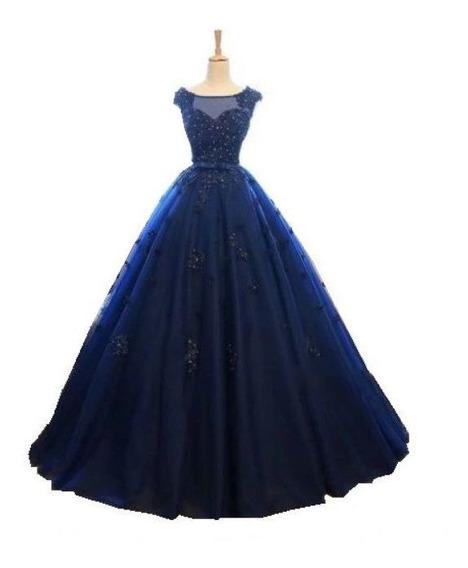 Vestido Debutante Azul Marinho Detalhe Costas 15 Anos
