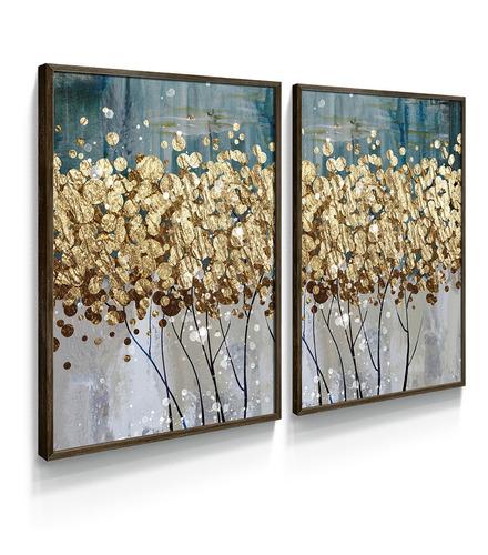 Quadro Decorativo Árvore Folhas Dourado Abstrato Ouro Sala