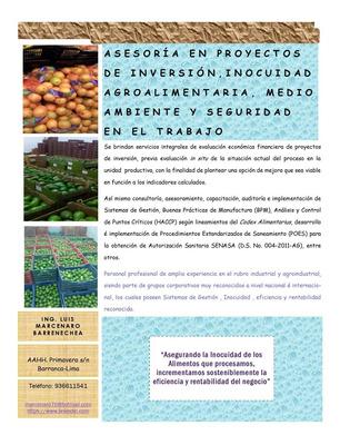 Asesoría En Proyectos Inversión, Inocuidad Agroalimentaria