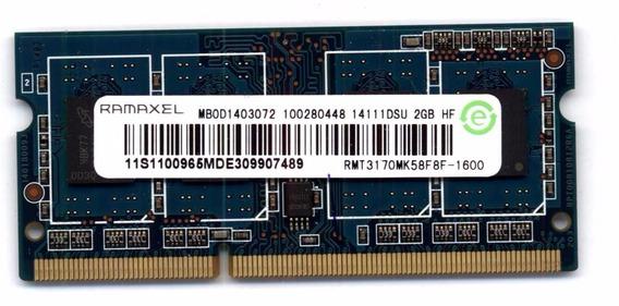 Memoria Notebook Ram Ramaxel 2gb 1600mhz Sodimm Rmt3170
