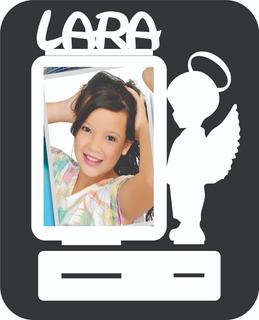 45 Porta Retrato Batizado Mdf Branco Com Nome Lembrancinha