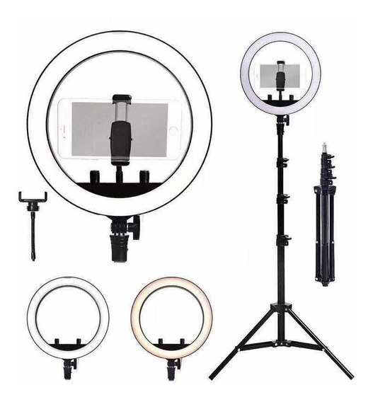 Ring Light Completo Iluminador Portátil 26cm Com Tripé Make