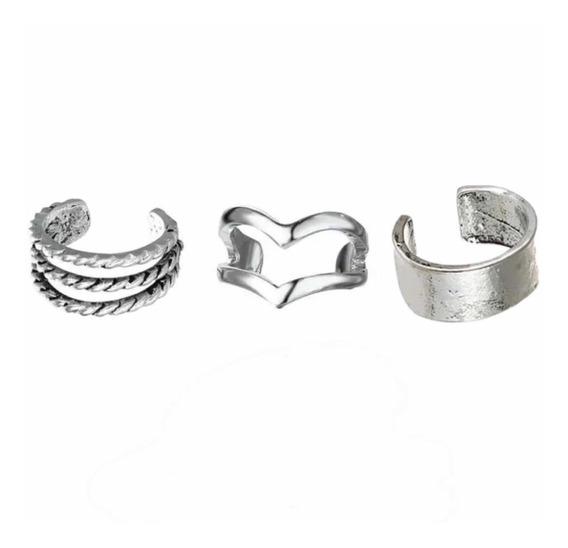 3 Piercing De Orelha Conch Cartilagem De Pressão Falso Prata