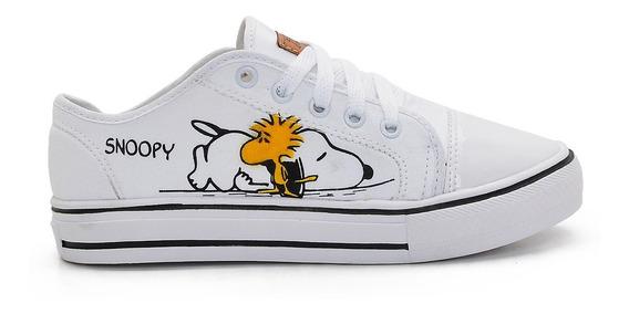 Tênis Snoopy Plataforma Sola Alta Casual E Confortável