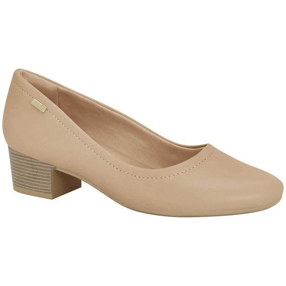 Lançamento Sapato Feminino Salto Médio Comfortflex Napa Nude