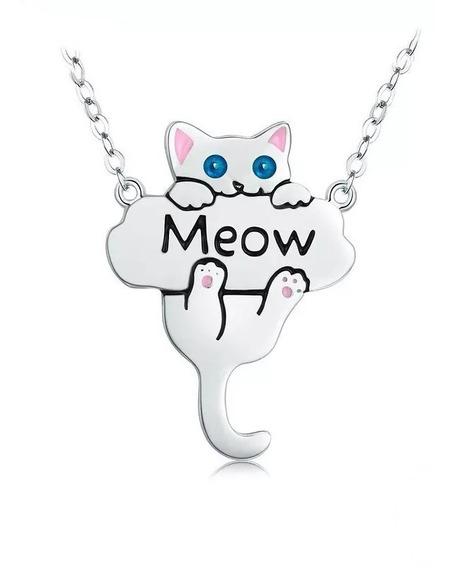 Cordão Prata 925 Gatinho Gato Filhote Meow Estilo Pandora