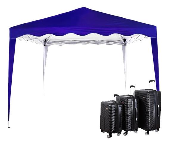 Conjunto De Malas Para Viagem Exeway Com Rodízios 360° 3 Peças, Preta + Tenda Sunfit Gazebo Base 3x3m, Azul Listrada