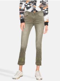& Pantalón Verde Desigual Con Bordado 38 Con Envío