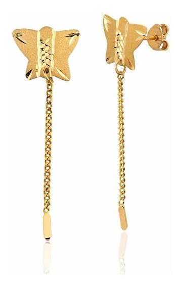 Brinco De Ouro 10k Borboleta Feminino Ab54