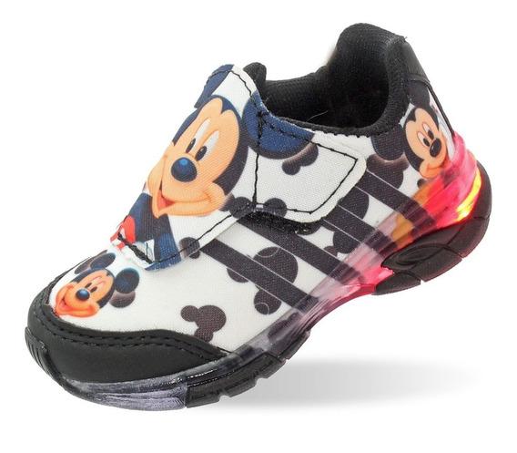 Tenis Luzinha De Led Infantil Masculino Mickey Sem Cadarço