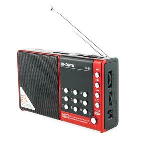Rádio Xhdata D38 Am/fm/sw/mp3 Player C/ Dsp Vermelho
