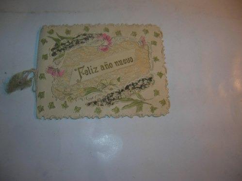 Antigua Postal Tarjeta Feliz Año Nuevo Tela Brillantina