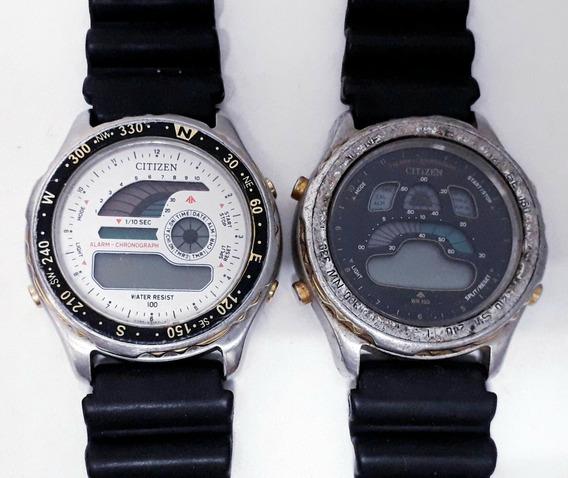 2 Relógios Citizen Windsurf Quartz No Estado Peças Restaurar