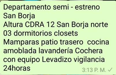 Departamentos En Alquiler Por Temporada En San Borja