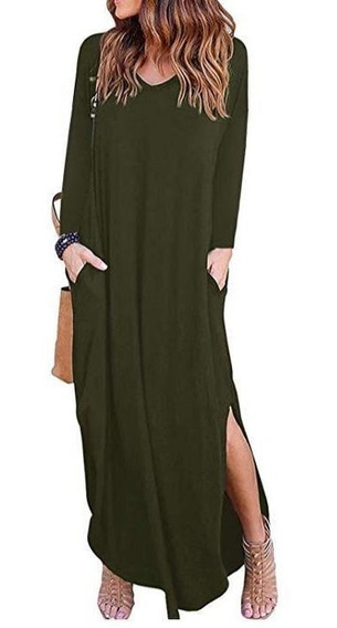 Vestido Mangas Largas Con Bolsillos