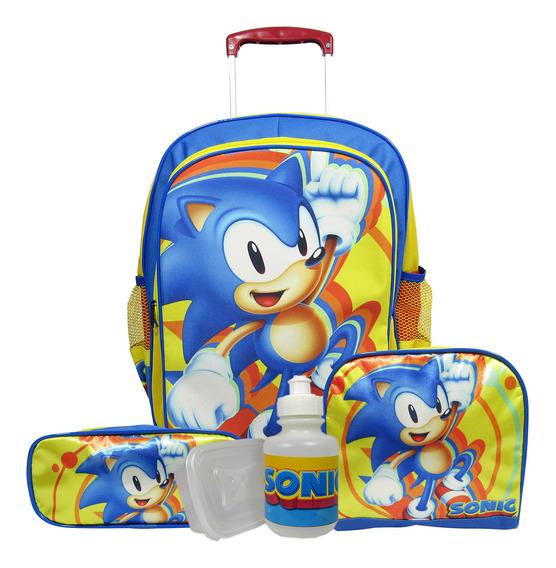 Kit Mochila Escolar Infantil Sonic Rodinhas