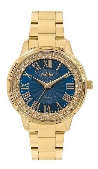 Relógio Condor Dourado Fundo Azul C/ Spike Road Co2036kvf/4a