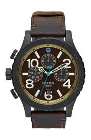 Reloj Nixon 48-20 Chrono Leather All Black Brass Original