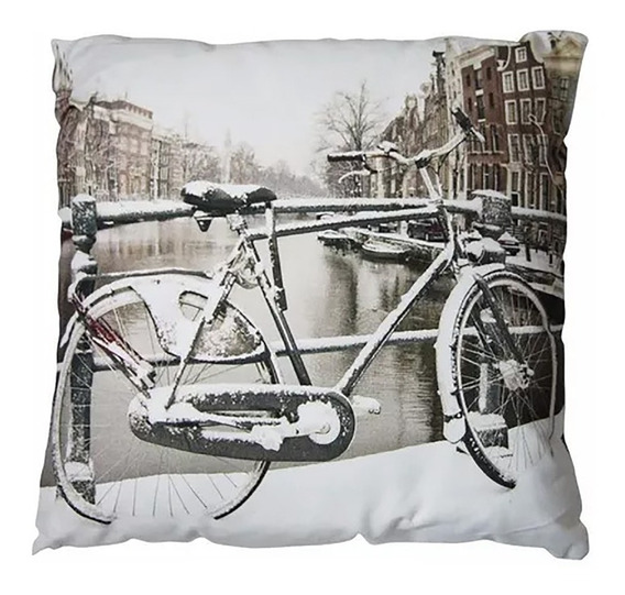 Cojin Decorativo Digital Bici Blanca 43x43 Cms Casamia