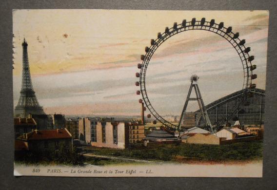 Postal Antigua De La Gran Rueda De Paris Francia Circa 1914