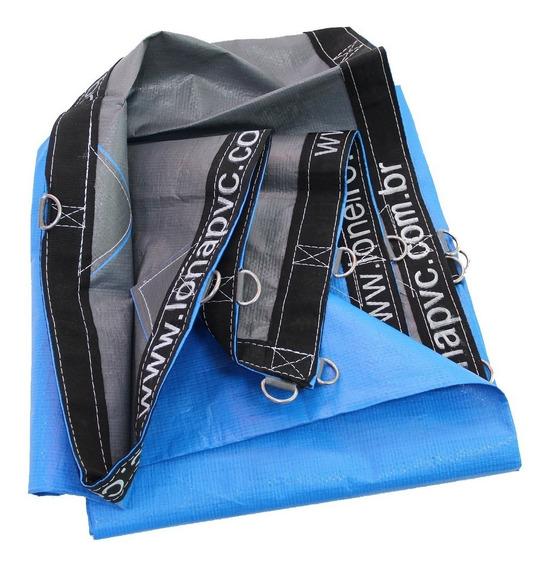 Lona 500 Micra Toldo Tenda Azul Cinza 12x8 + Argola Loneiro
